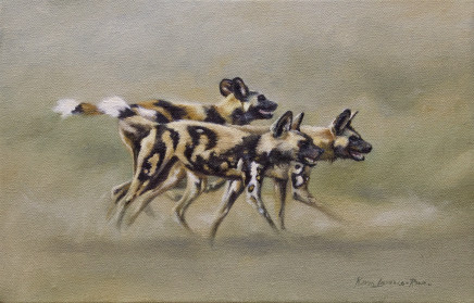 """Karen Laurence-Rowe ON THE HUNT Mixed Media on Canvas 14"""" X 9"""""""