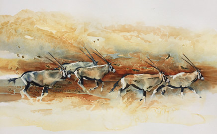Karen Laurence-Rowe  ORYX STAMPEDE  Watercolour on Paper  82 x 53cm