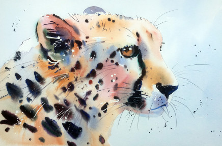 """Jake Winkle CHEETAH CHARM Watercolour 13"""" x 18"""""""