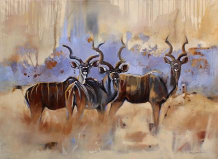 """Karen Laurence-Rowe KUDU KINGS Oil on Canvas 32"""" X 44"""""""