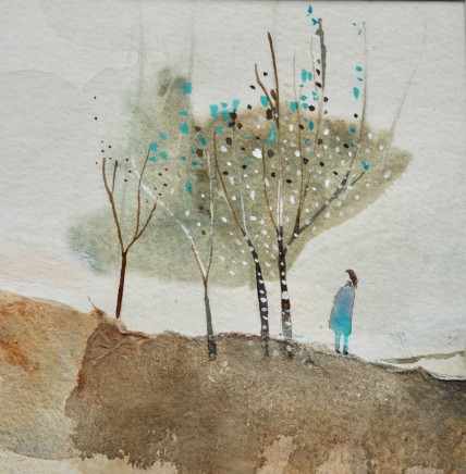 """Julie Collins TURQUOISE TREE Watercolor, Acrylic and mixed Media on paper 4.5"""" X 4.5"""""""