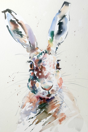 """Jake Winkle HANDSOME HARE Watercolour 18"""" x 13"""""""