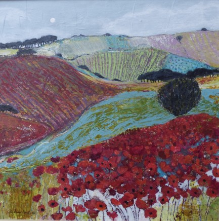 "Lindsay Keir  POPPY LANDSCAPE  Acrylic on board  12"" x 12"""