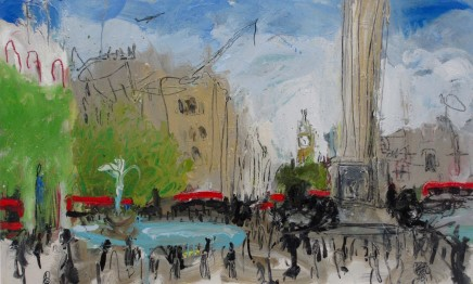 "Sophie Bartlett  TRAFALGAR SQUARE I  Oil on board  24"" x 39"""