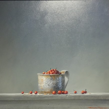 "Bryan Hanlon  CURRANTS AND TIN MUG  Acrylic on Board  8"" X 8"""