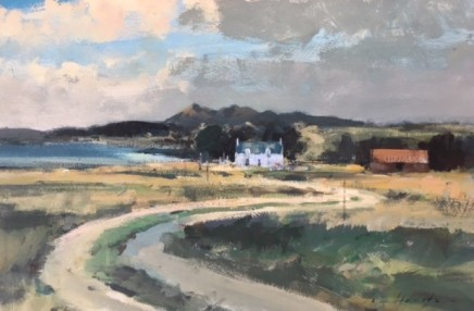 Ian Houston  A COTTAGE BY THE LOCH, TOKAVAIG  Oil on Board  25 X 41cm
