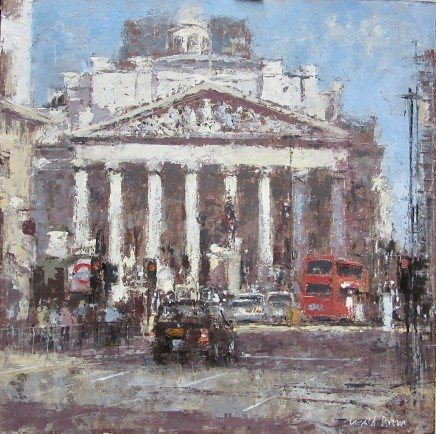 """Gerald Green TOWARDS THE ROYAL EXCHANGE LONDON Oil 16"""" X 16"""""""