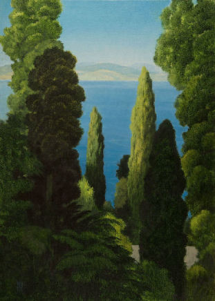 "Michael Bennallack Hart  ACHILLEION, CORFU  Oil on canvas  28"" X 20"""