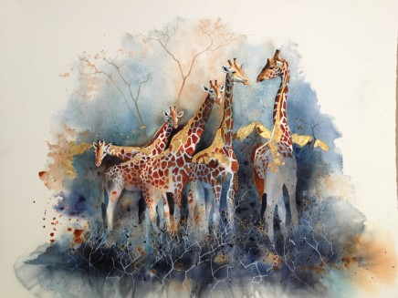 "Karen Laurence-Rowe GIRAFFE TOWER Watercolour on Paper 23"" x 30"""