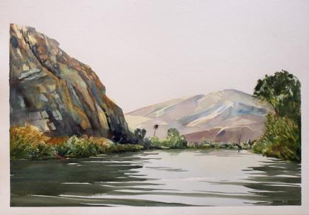 "Karen Laurence-Rowe KUNENE RIVER VIEW Watercolour on Paper 21"" X 30"""