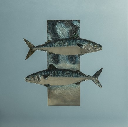 Sam Macdonald  MACKEREL IN DETAIL  Pewter, Gold Leaf and Aluminium  61 x 61cm