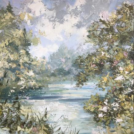 "Paul Treasure OLIVE AND CHALKSTREAM Oil on canvas 40"" X 40"""