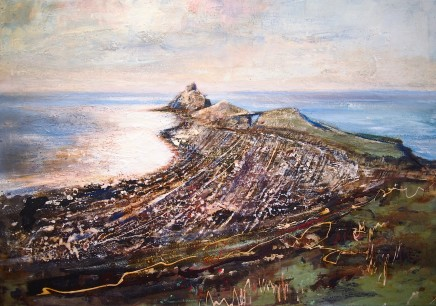 """Peter Kettle WORM'S HEAD CAUSEWAY Oil/Watercolour/Ink/Shellac 28"""""""" x 40"""""""