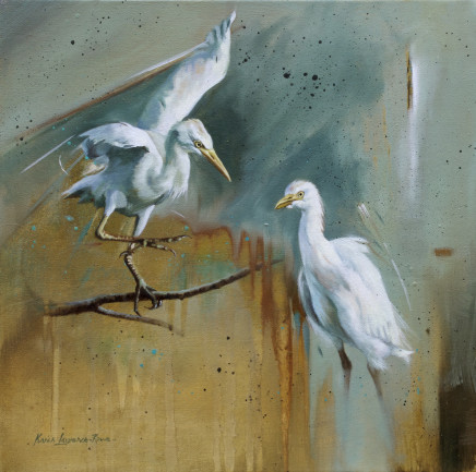 """Karen Laurence-Rowe GREAT WHITE EGRETS Mixed Media on canvas 15"""" x 15"""""""