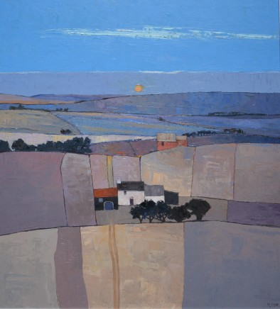 "Mary Pym  ALONG THE SOUTH DOWNS  Oil on board  32"" X 29"""