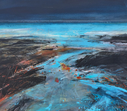 "Jo Ellis  EVENING FLOOD TIDE - CORNWALL  Mixed media and acrylic  18"" x 20"""