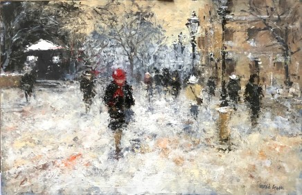 """Gerald Green RED HAT IN THE SNOW PARIS Oil 13"""" X 20"""""""