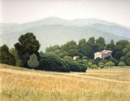 """Michael Bennallack Hart LOURMARIN Oil on canvas 26"""" x 34"""""""