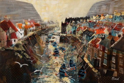 """Mike Bernard HARBOUR ROOFTOPS, STAITHES Mixed Media 20"""" X 30"""""""