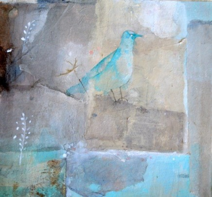 """Julie Collins  BLUEBIRD  Watercolor and acrylic on paper  11"""" x 11"""""""