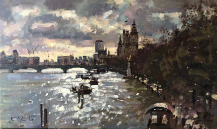 Bruce Yardley LIGHTBREAK OVER WESTMINSTER Oil 31 X 51cm