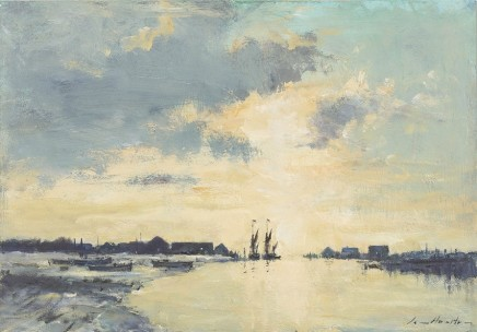 Ian Houston  A RADIANT DAWN, SOUTHWOLD  Oil on Board  35 X 50cm