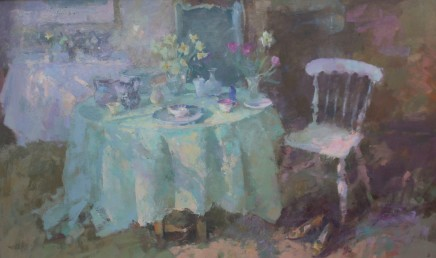 "Jacqueline Williams  SUNLIT TABLE  Oil on canvas  22"" x 36"""