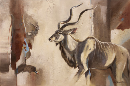 "Karen Laurence-Rowe KUDUS AND KANGAS Oil on Canvas 23"" X 34"""