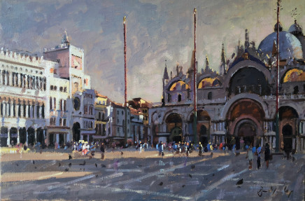 Bruce Yardley MORNING SUN, PIAZZA SAN MARCO Oil 41 X 61cm
