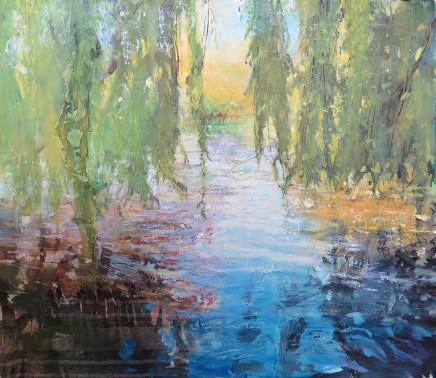 "Maureen Davies THROUGH WILLOWS Oil on Canvas 27"" x 24"""