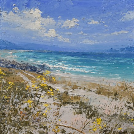 """Colin Carruthers RAGWORT BY THE OCEAN'S EDGE Oil on Canvas 16"""" X 16"""""""
