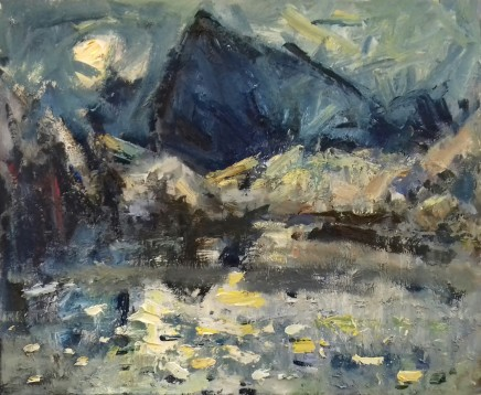 """Gareth Parry LAKE IN THE MOUNTAINS. YELLOW MOON Oil on linen canvas 20"""" x 24"""""""