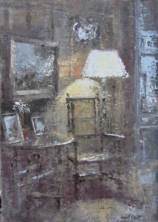 """Gerald Green THE READING LAMP Oil 16"""" X 12"""""""