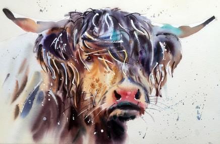 "Jake Winkle HAIRY HIGHLAND Watercolour 13"" X 18"""
