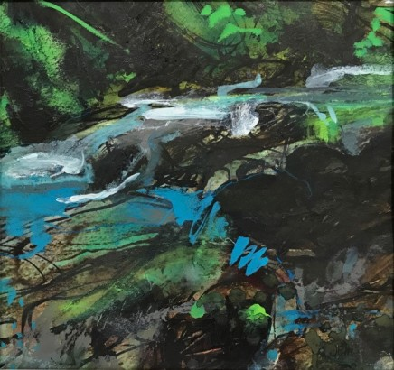 "Jo Ellis  WARLEGGAN RIVER II  Mixed media  10"" x 11"""