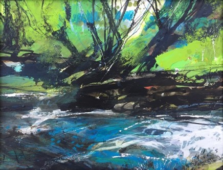 "Jo Ellis WARLEGGAN RIVER 1 Mixed media 13"" x 16"""