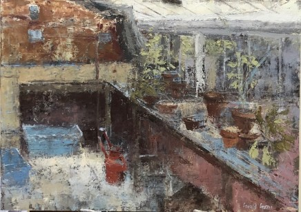 """Gerald Green IN THE GREENHOUSE Oil 12"""" X 17"""""""