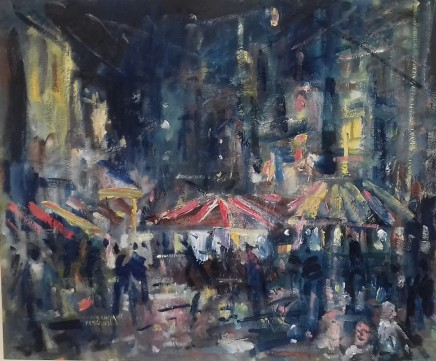 """Gareth Parry THE FAIR IN TOWN Oil on canvas 24""""X20"""""""