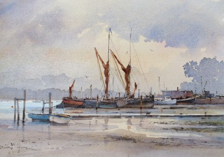 David Howell  WET MORNING ON THE ORWELL  Watercolour