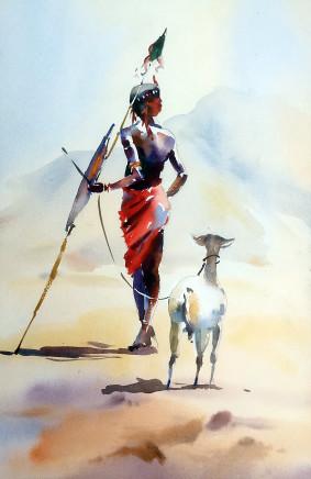 """Jake Winkle THE GOAT FARMER Watercolour 18"""" x 13"""""""