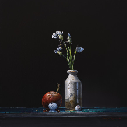"""Bryan Hanlon WILD GARLIC AND HOLLY BLUE Acrylic on board 16"""" x 16"""""""