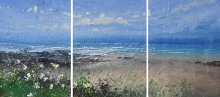 """Colin Carruthers WINDSWEPT DAISIES (Triptych) Oil on Canvas 16"""" X 36"""""""