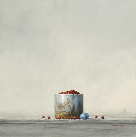 "Bryan Hanlon BERRIES AND THRUSH'S EGG Acrylic on board 16"" x 16"""