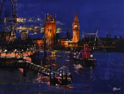 """Mike Bernard LOOKING ACROSS TO WESTMINSTER Mixed Media 18"""" X 24"""""""