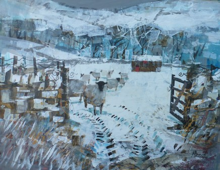 """Mike Bernard SHEEP IN THE SNOW Mixed Media 13"""" x 17"""""""