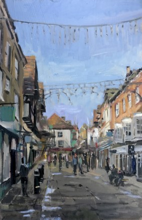 "Alice Boggis-Rolfe  WINCHESTER HIGH STREET  Oil on Panel  12"" x 8"""