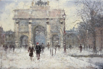 "Gerald Green  WINTER ON THE AVENUE DE L'ARC DU TRIOMPHE DU CARROUSEL PARIS  Oil  16"" x 24"""