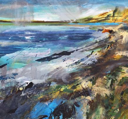 """Jo Ellis  SHARP SQUALL - CHICHESTER HARBOUR  Acrylic on canvas  18"""" x 21"""""""