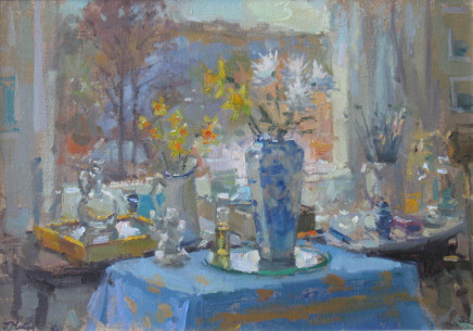 John Martin  STUDIO TABLE  Oil on board  24 x 34cm