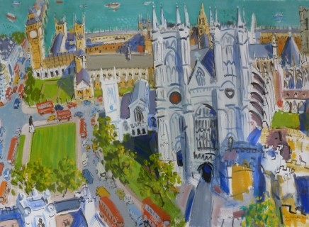 """Ian Weatherhead WESTMINSTER ABBEY WITH RED BUSES Acrylic on paper 20"""" x 25"""""""
